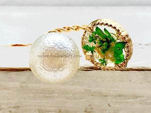 レジンとパールの指輪